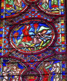 Cain Able Adam Eve Stained Glas-Sainte Chapelle Paris France Stockbild