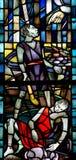 Cain och Abel i målat glass Royaltyfria Foton
