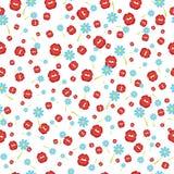 Caindo beija o vermelho e as flores, fundo sem emenda Ilustração do vetor Foto de Stock Royalty Free