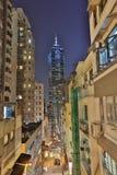 Caine Rd en la noche Hong-Kong Foto de archivo libre de regalías
