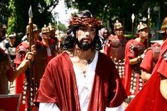 Reconstrucción de la muerte del Jesucristo Fotos de archivo libres de regalías