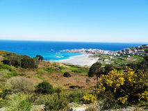 Caion beach and village landscape- North Coast Spain Stock Photography