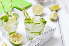 Caipirinha, κοκτέιλ mojito με τον ασβέστη, καφετιά φύλλα ζάχαρης, πάγου και μεντών στα όμορφα γυαλιά, πράσινα εσπεριδοειδή περικο Στοκ φωτογραφίες με δικαίωμα ελεύθερης χρήσης
