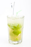 Caipirinha Cocktail. With lime and brown sugar on a white background stock photo
