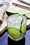 Caipirinha, lemon-based drink, sugar and typically Brazilian cachaça on wooden table. stock image