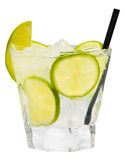 Caipiroska Caipirinha Lemon Drink. Alcoholic drink isolated on white background Stock Photos