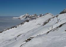 Cair推力在Titlis滑雪区域 库存照片