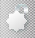 Cair branco vazio do wobbler na zombaria da parede acima, rendição 3d Espace em volta do modelo de papel na tira transparente plá ilustração stock