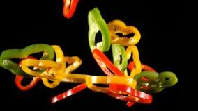 Cair cortes coloridos da paprika soa, movimento lento vídeos de arquivo