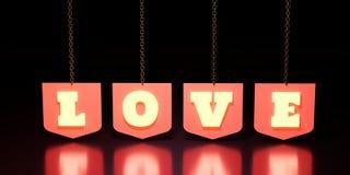 Cair da palavra do amor nos protetores Fotos de Stock Royalty Free