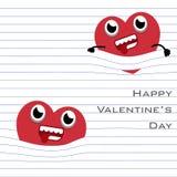 Cair dos desenhos animados do coração de MobileRed com a linha de página do papel no fundo branco ilustração stock