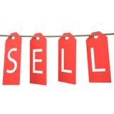 Cair vermelho da etiqueta da venda Isolado no fundo branco Fotografia de Stock