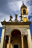 In cairate varese italy  church watch bell clock tower Royalty Free Stock Photos