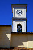 Cairate varese italy   the old wall terrace   watch bell clock Stock Photos