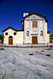 Cairate varese  the old wall terrace church watch bell tower Stock Images