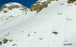 Cairlift shadows (1), Serre Chevalier, France Stock Photo