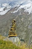 Cairn along the hiking trail Stock Photo