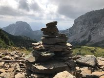 A cairn in the Alps of Austria stock images