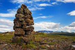 Cairn. An ancient cairn used by travellers across Iceland as a way marker to keep them safe before roads royalty free stock image