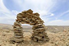 Cairn di pietra in deserto di Negev. Immagini Stock Libere da Diritti