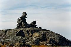 Cairn di pietra in Qinngorput Fotografie Stock Libere da Diritti
