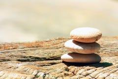 Cairn en pierre sur un bois Photo libre de droits