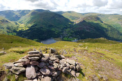 Cairn in the Foreground, Helvellyn behind Stock Images