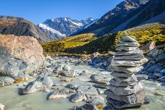 Glacial river in Hooker Valley Track, Mount Cook, New Zealand. Cairn on Glacial river, Hooker Valley Track, Mount Cook, New Zealand Stock Image