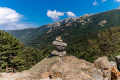 Cairn on GR20 hiking trail in Corsica - 1 Royalty Free Stock Image