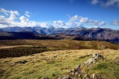Cairn on High Seat. Sunshine on the Borrowdale Fells Stock Images