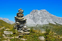 Cairn at the hiking trail Royalty Free Stock Photo