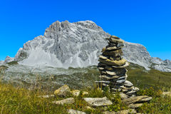 Cairn at the hiking trail Stock Images