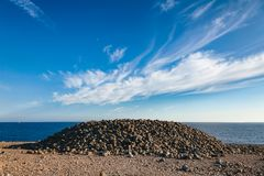 Cairn made of cobble deposits at Molen UNESCO Global Geopark Lar stock images