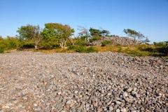 Cairn made of cobble deposits at Molen UNESCO Global Geopark Lar stock photo