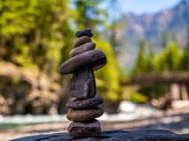 A Cairn Marks the Path to Harmonic Convergence. A Cairn ` to mark vortexes, those supposed swirls of harmonic convergence.` was made by the photographer along royalty free stock images
