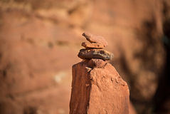 CairnPetraJordan. A Cairn Marks a Trail in Petra Jordan Royalty Free Stock Images