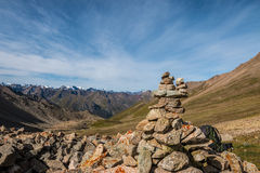 Cairn on the mountain pass Royalty Free Stock Photo