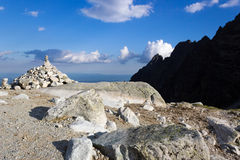Cairn in the mountains Stock Images