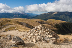 Cairn in Nelson Lakes National Park Stock Image