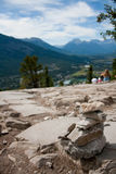 Cairn at Overlook on Tunnel Mountain Hiking Trail Banff Canada Stock Photos