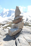 Cairn, pile of stones in Austrian mountains Stock Photo