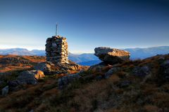 Cairn and a rock Royalty Free Stock Photography