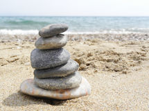 Cairn stones on the beach Royalty Free Stock Photo