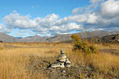 Cairn stones mackenzie country, south island, nz Royalty Free Stock Images