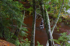 Cairn and Tannin Stream. Cairn in tannin stream upper peninsula Michigan in the Autumn stock photos