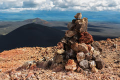 Cairn on top of North Breakthrough Great Tolbachik Fissure Eruption 1975 Stock Image