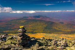 Cairn and view of the White Mountains from Mount Washington, New Stock Images
