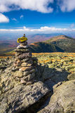 Cairn and view of the White Mountains from Mount Washington, New Stock Photography