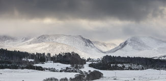 Cairngorms & Lairig ghru pass. Snow on Cairngorms & Lairig ghru pass in the Cairngorms national park of Scotland Royalty Free Stock Photos