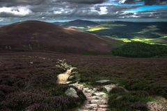 Cairngorms National Park. Route back from Clachnaben in Glen Dye, Aberdeenshire, Scotland royalty free stock images